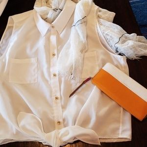 Semi sheer white front tie blouse